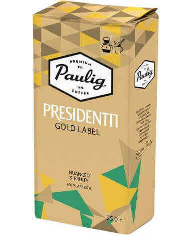 Кофе молотый Paulig Presidentti Gold Label 250 г (Паулиг Президентти Голд Лэйбл)